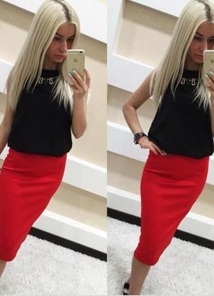 Стильная красная юбка миди!в наличии есть разные размера!
