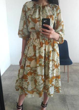 Шифоновое платье ананасы