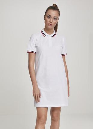 🌿белоснежное платье поло urban classic спортивное платье с полосками