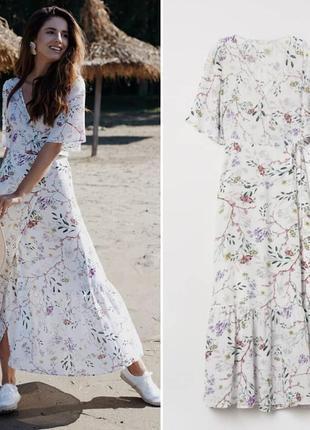 Хит продаж! восхитительное воздушное платье макси из вискозы цветочный принт h&m