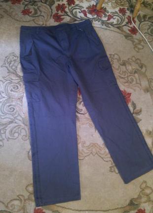 Натурал-100%коттон,оригинал,серые,брюки с лампасами,кучей карманов,на высокого,бол.2xlразм