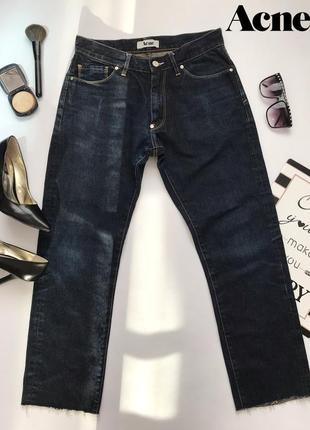 Темно синие джинсы бойфренды с не обработаным краем средняя посадка acne 30/32.
