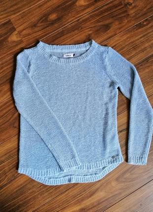 Лёгкий свитер джемпер голубой серый ленточная пряжа