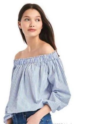 Блуза в полоску с открытыми плечами gap 38р.