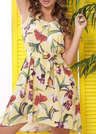 Легкое свободное летнее короткое платье с цветочным принтом и поясом(42,44,46,48,50/4цв)