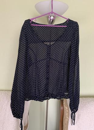 Прозрачная блузка в мелкий горошек