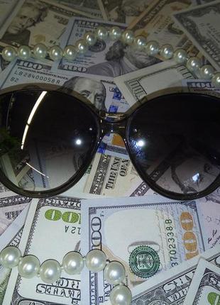 Стильные солнцезащитные очки тёмно серые зеркальные линзы прозрачная оправа+метал