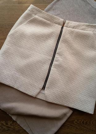 Фактурная белая юбка белоснежная спереди на молнии  topshop