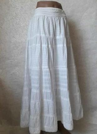 Фирменная белоснежная юбка в пол со 100 %хлопка, кружевными вставками, размер м-л