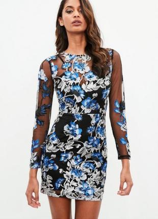 Очень крутое платье сетка в цветах от missguided