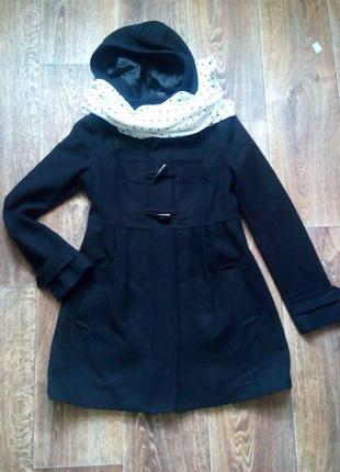 Черное демисезонное пальто h&m полушерстяное, шерсть
