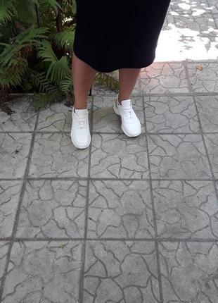 Кожаные кроссовки криперы белоснежные золото подошва танкетка9 фото