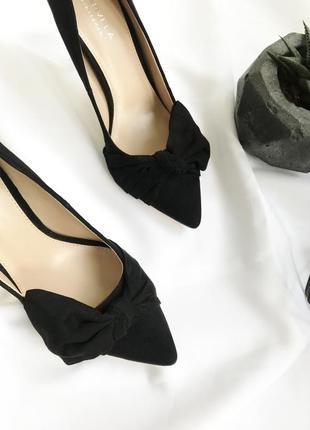 Новые черные туфли лодочки замшевые с бантом на шпильке классические тряпичные текстильные