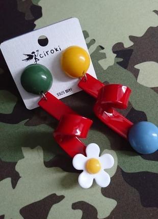 Стильные серьги, оригинальные пластиковые женские сережки2 фото