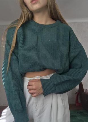 Вязанный шерстяной свитер с объёмными рукавами изумрудный