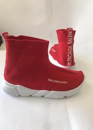 Детские красные кроссовки- носки в стиле balenciaga