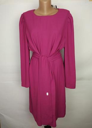 Платье новое шикарное под пояс большой размер цвета фуксия marks&spencer uk 18/46/xxl