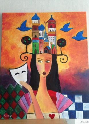 "Картина маслом "" шахматная королева"""