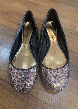 Леопардовые балетки туфли в паетках большого размера на широкую ногу