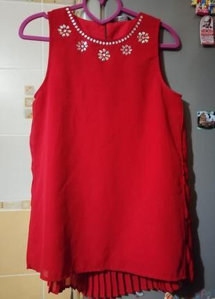 🔥красная блузка с плессировкой, р. xs