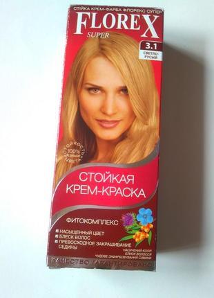 Стойкая крем краска для волос florex super цвет светло-русый