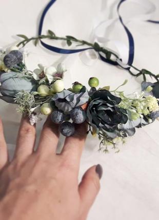 Венок на голову синий с цветами