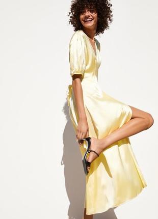 Zara лимонное , атласное, запах, миди платье , s/m/l