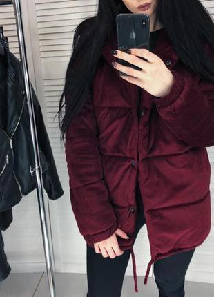 Куртка пуховик-зефирка, бархатный, велюровый тренд сезона m-l