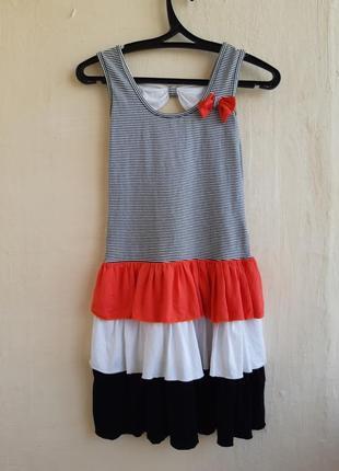Платье с рюшами летний сарафан полоска и рюши