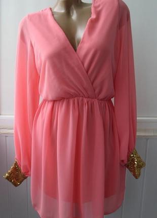 Платье вечернее шифоновое, нарядное, пайетки