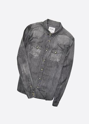Allsaints s / мужская джинсовая серая рубашка на кнопках, фабрично состаренная
