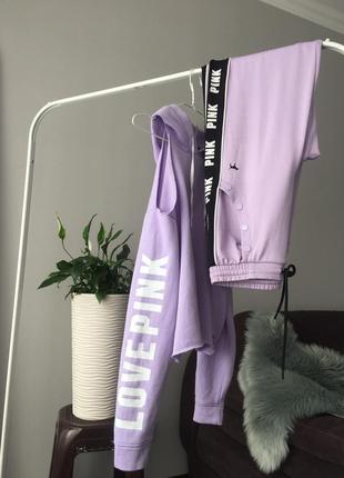 Скидка 1 день!!!victoria's secret pink трикотажный костюм фиолетовый/лиловый