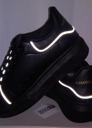 Черные кеды в стиле alexander mcqueen кроссовки туфли на платформе!слипоны!светящиеся