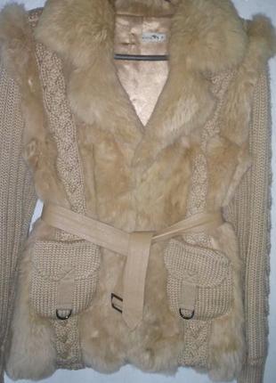 Кофта, куртка вязаная с мехом кролика
