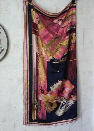 Подписной платок от ehass, шелк(?), шов роуль, каре 88х89см