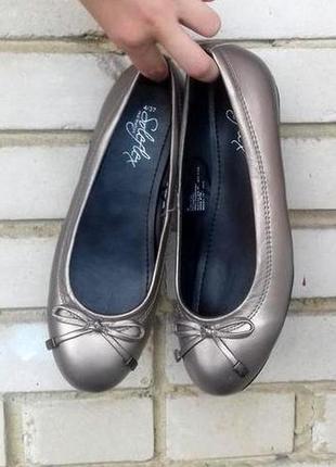 Серебристо-золотистые балетки