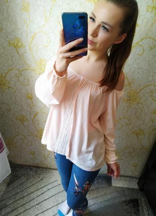 Шикарная персиковая пудровая блузка с открытыми плечами