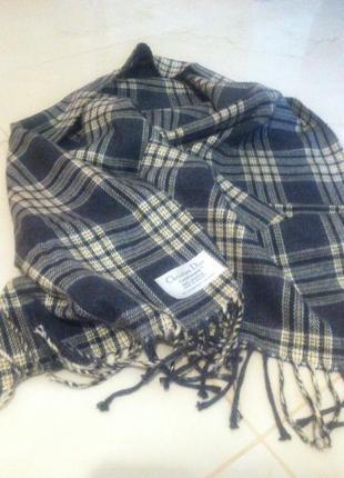 Стильный мужской брендовый клетчатый шарф