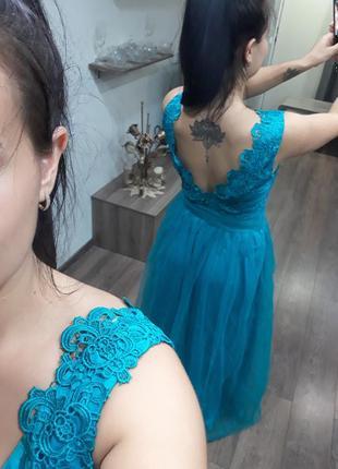 Платье выпускное вечернее нарядное длинное бирюзовое голубое с открытой спиной