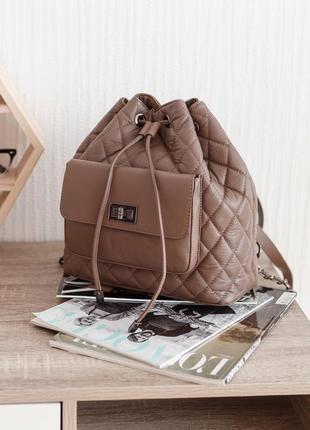 Стеганный итальянский кожаный рюкзак (натуральная кожа), италия
