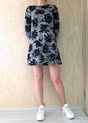 Платье трапеция расклешенное серое розы, можно для беременных select, р. s-м