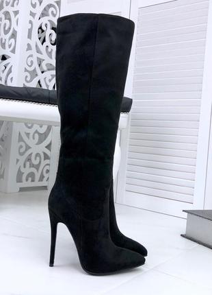 Элегантные люксовые осенние сапоги на шпильке с острым носком