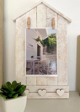 Рамочка из сосновых планок для фото / картинок домик