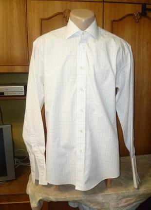 Красивая фирменная рубашка,длинный рукав под запонки,белоснежная в тонкую клеточку,мужская