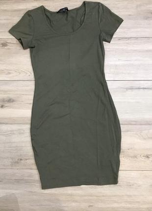 Трикотажне плаття футляр кольору хакі