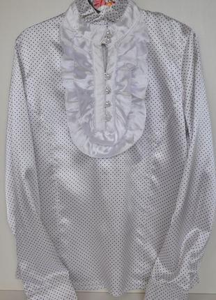 Атласная блузка белая в крапинку