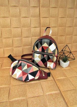 Бордовый набор 2в1 (рюкзак + бананка) handmade в принт