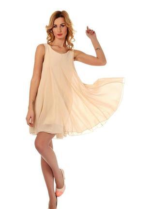 Летнее расклешенное пудровое шифоновое коктейльное платье туника