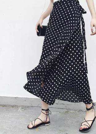 Трендовая юбка в горошек миди на запах one size