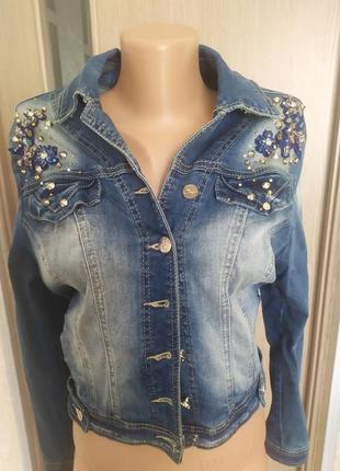 Курточка джинсова зі стразами